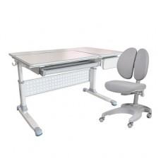 Парта-трансформер для школьника brunia grey cubby + детское кресло solerte grey fundesk